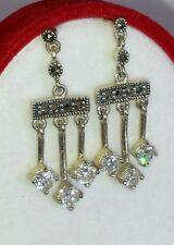 Sterling, Cubic Zirconia & Marcasite Chandelier Earrings