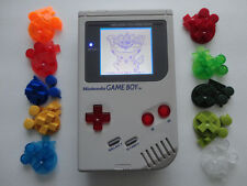 NINTENDO original game boy gray DMG-01 custom backlight mod, white, red, green