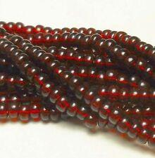 Garnet Transparent Czech 6/0 Seed Bead on Loose Strung 6 String Hank