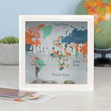 White Adventure Fund Map Money Box Cash Saving Travel World Modern Piggy Bank