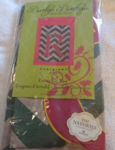 """Evergreen Burlap Boutique Collection Initial """"R"""" Holiday HOUSE Flag 28"""" x 44"""""""