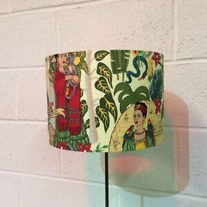 Beautifully Handmade Drum Lampshade In 'Frida's Garden' Fabric / Frida Kahlo