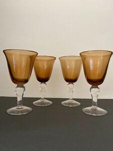 Set of 4 Vintage Artland Iris Amber Glass Wine/Water Goblets