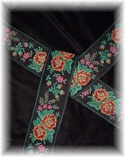 Embroidered Rose Sash Belt