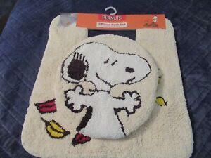 Peanuts Snoopy 2-Piece Bath Set-Lid Cover & Contour Rug-New