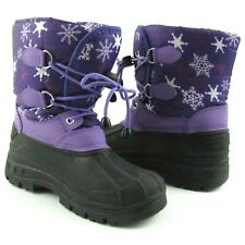 Girls Purple Black Winter Snow Boots Size 2 Lace Up Faux Fur Lining Snowflakes
