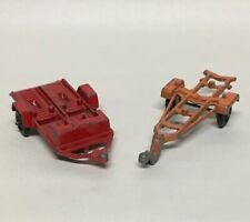 (2) Vintage Tootsietoy Toy Boat & Motorcycle Trailers Chicago USA