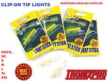 4 X CLIP ON FISHING ROD TIP LIGHTS / LIGHTSTICKS, (SIZE: SMALL )  FISHING