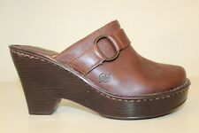 Born Womens Clog Mule Shoes Size 6 / 36.5 Brown Leather Strap Slide On Heels