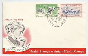 New Zealand health stamps - official FDC 1957 - Roxburgh Health Camp