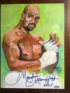 Marvelous Marvin Hagler hand signed with HOF 95 Original 1 of a kind painting.