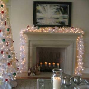 9FT White Christmas Garland With Lights Fireplace Artificial Wreath Decorations