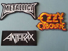 SET OF THREE MUSIC SEW/IRON ON PATCHES:-  METALLICA OZZY ANTH