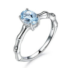 Sea Blue  Aquamarine Ladies Bamboo Joint Rings 925 Silver Filled Knuckle Jewelry
