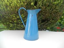 VINTAGE/ANTIQUE FRENCH ENAMELWARE BLUE BODY PITCHER/GARDEN
