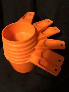 Vintage 1970's Set of 6 Orange Plastic Tupperware Stacking Measuring Cups Kitsch