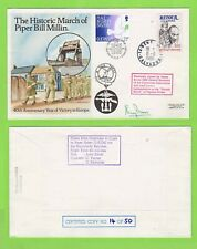 More details for guernsey/france 1985 'the historic march of piper bill millin' flown & signed co
