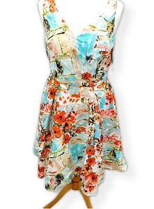 TU Women Multicoloured Long Summer Dress Back Zip UK 8   Brand New  