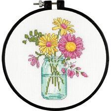 "Counted Cross Stitch Kit SUMMER FLOWERS Mason Jar Jars Dimensions Hoop 6"""