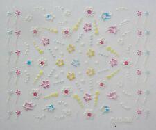 Accessoire ongles nail art Stickers autocollants , fleurs et bandes multicolores