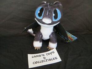 "How To Train Your Dragon 3 Blue Eyes White Black 8"" Nightlight Plush Stuffed Toy"
