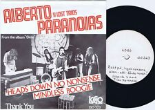 ALBERTO Y LOST TRIOS PARANOIAS Heads Down Swedish 45PS 1978 Promo/test press