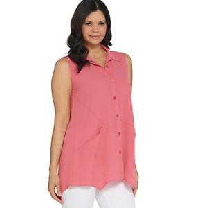 Joan Rivers Sleeveless Textured Crepe Button Front Shirt - Watermelon - 1X