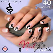 40 x Nail Art Water Transfers Stickers Wraps Decals Gothic Snake Serpant