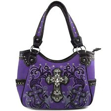 Justin West Floral Bling Rhinestone Cross Western Concealed Carry Handbag Purse
