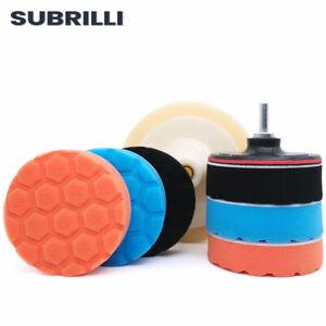 Car Polishing Disc Set Sponge Buffing Pad Kit For Drill Waxing Polisher Adapter