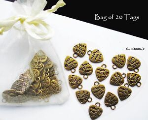 Made with Love Heart Shape metal labels - 20 tags gold alloy jewellery craft sew