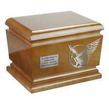 BEAUTIFUL WOODEN FUNERAL ASHES URN FOR ADULT EAGLE ART CREMATION URN / PET URN