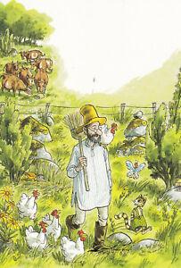 Postkarte: Pettersson und Findus bei den Hühnern