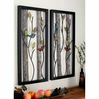 Set of 2 Modern Nature-Inspired Framed Wall Plaques by Black Large