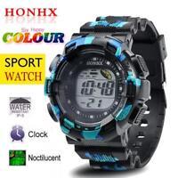 Men Fashion LED Digital Alarm Date Silicone Army Watch Waterproof Sports Watch