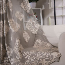 1 Panel Grey European Style Jacquard Sheer Curtain Voile Window White Living