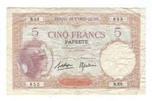 Tahiti - Papeete - Five (5) Francs 1927