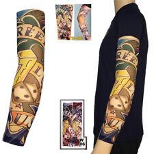 Dice & Anchor Elastic Nylon Temporary Fake Tattoo Sleeves Mens Women Arm Sleeve
