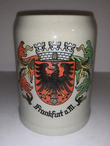 Vintage German Beer Stein Mug Frankfurt Half Liter 0.5 L Germany City Crest