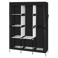 "71"" Portable Closet Wardrobe Clothes Rack Storage Organizer with Shelf Black"