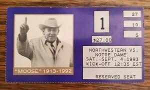 """Notre Dame Northwestern Football Ticket Stub 9/4 1993 Ed """"Moose"""" Krause Photo"""