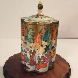 Vintage Turkish Camel Bone Snuff Box Hand Painted
