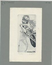 EX20714 EX Libris JOSEF LUBIC woman nude art signed c3