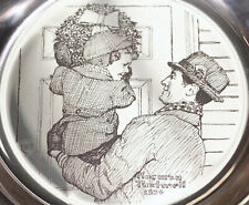 Norman Rockwell Sterling Silver Hanging the Wreath Christmas Plate Franklin Mint