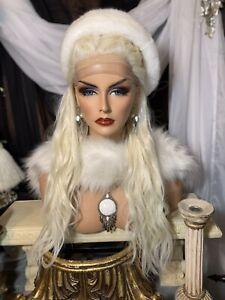 GORGEOUS PALE BLONDE,Human Hair Blend,360 LACE FRONT,FREE PARTING, VERSATILE WIG