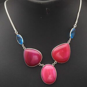 """Pink Lace Onyx Sterling Silver Plated Necklace 20"""" Gemstone Jewelry W12510"""
