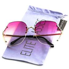 Crystal Cut OVERSIZED Gradient Lens Rimless Square Modern Women Elite Sunglasses