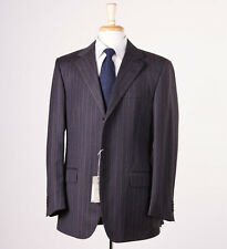 NWT $1995 CANTARELLI Chocolate Brown-Blue Stripe Brushed Wool Suit 42 R Italy