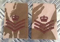 Genuine British Army Desert Camo STAFF SERGEANT Rank Slides - NEW x 100 Pairs
