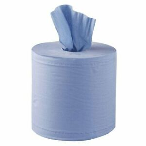 Blue Paper Roll,  2ply 150M x 17.5cm Centre Feed,  (Pack of 6)